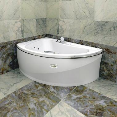 Акриловая ванна Альбена 168x120 с гидромассажем левая хром
