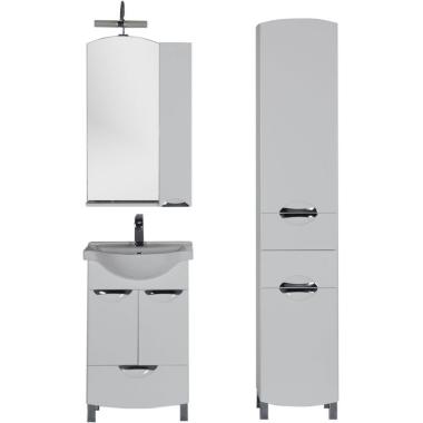 Комплект мебели для ванной Aquanet Асти 55 белый (2 дверцы 1 ящик, зеркало шкаф/полка)