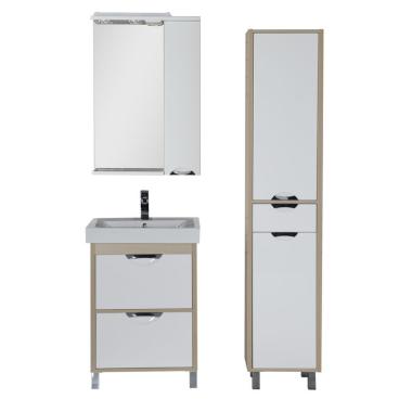 Комплект мебели для ванной Aquanet Гретта 60 светлый дуб (2 ящика)