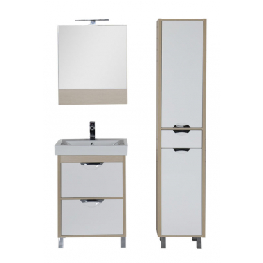 Комплект мебели для ванной Aquanet Гретта 60 светлый дуб (камерино 2 ящика)