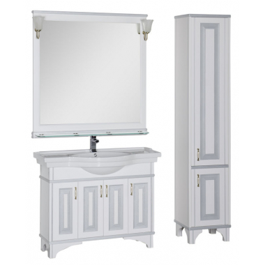 Комплект мебели для ванной Aquanet Валенса 110 белый краколет/серебро