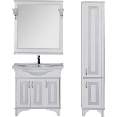 Комплект мебели для ванной Aquanet Валенса 90 белый краколет/серебро