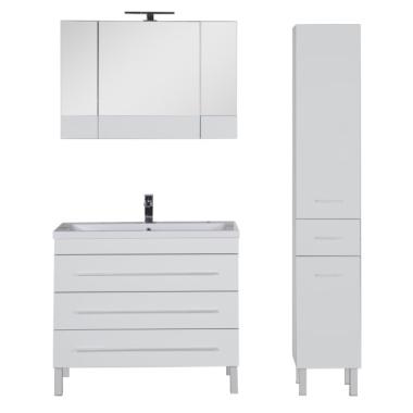 Комплект мебели для ванной Aquanet Верона 100 белый (напольный 3 ящика)