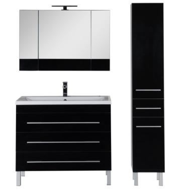 Комплект мебели для ванной Aquanet Верона 100 черный (напольный 3 ящика)