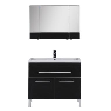 Комплект мебели для ванной Aquanet Верона 100 черный (напольный 1 ящик 2 дверцы)