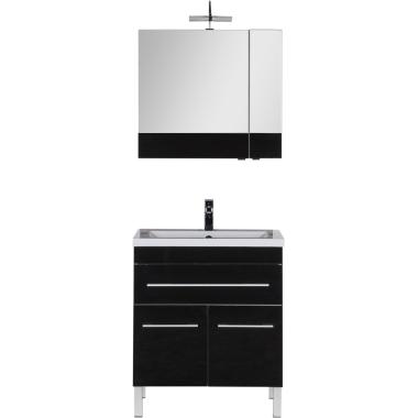 Комплект мебели для ванной Aquanet Верона 75 черный (напольный 1 ящик 2 дверцы)