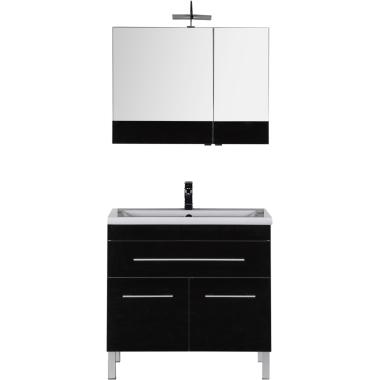 Комплект мебели для ванной Aquanet Верона 90 черный (напольный 1 ящик 2 дверцы)