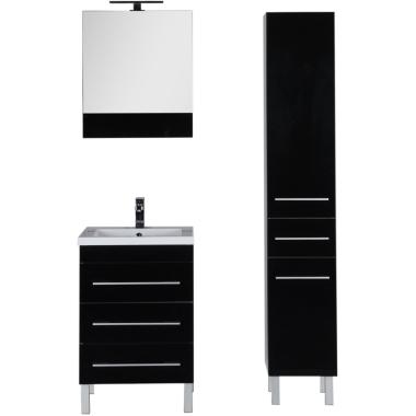Комплект мебели для ванной Aquanet Верона 58 черный (напольный 3 ящика)