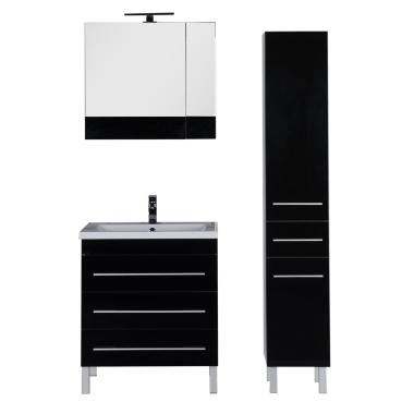 Комплект мебели для ванной Aquanet Верона 75 черный (напольный 3 ящика)