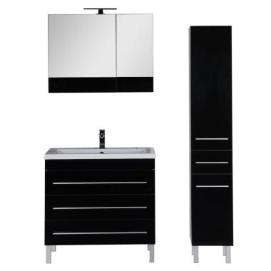 Комплект мебели для ванной Aquanet Верона 90 черный (напольный 3 ящика)