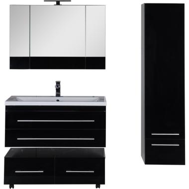 Комплект мебели для ванной Aquanet Верона 100 черный (подвесной 2 ящика)