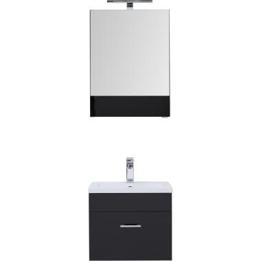 Комплект мебели для ванной Aquanet Верона 50 черный (подвесной 1 ящик)