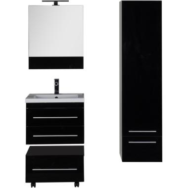 Комплект мебели для ванной Aquanet Верона 58 черный (подвесной 2 ящика)