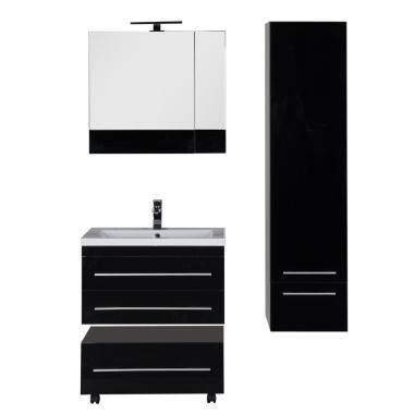 Комплект мебели для ванной Aquanet Верона 75 черный (подвесной 2 ящика)