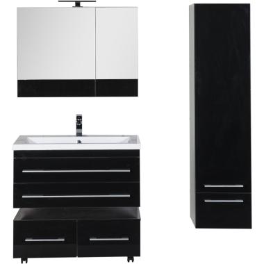 Комплект мебели для ванной Aquanet Верона 90 черный (подвесной 2 ящика)