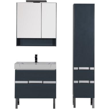 Комплект мебели для ванной Aquanet Виго 80 сине-серый