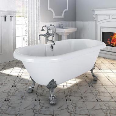 "Акриловая ванна Fra Grande ""Леонесса 175х80"" Chrome (чаша перламутровая, оболочка белая)"
