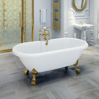 """Акриловая ванна Fra Grande """"Леонесса 175х80"""" Gold (чаша перламутровая, оболочка белая)"""
