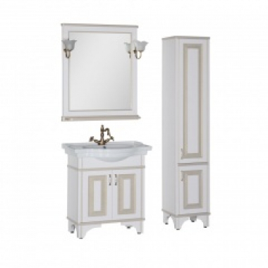 Комплект мебели для ванной Aquanet Валенса 80 белый краколет/золото
