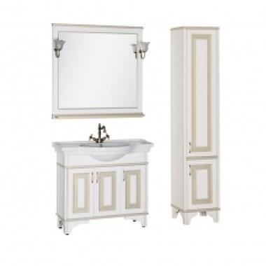 Комплект мебели для ванной Aquanet Валенса 100 белый краколет/золото