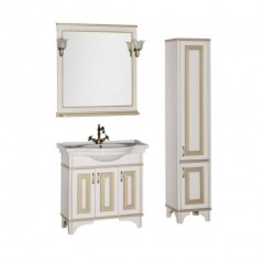 Комплект мебели для ванной Aquanet Валенса 90 белый краколет/золото